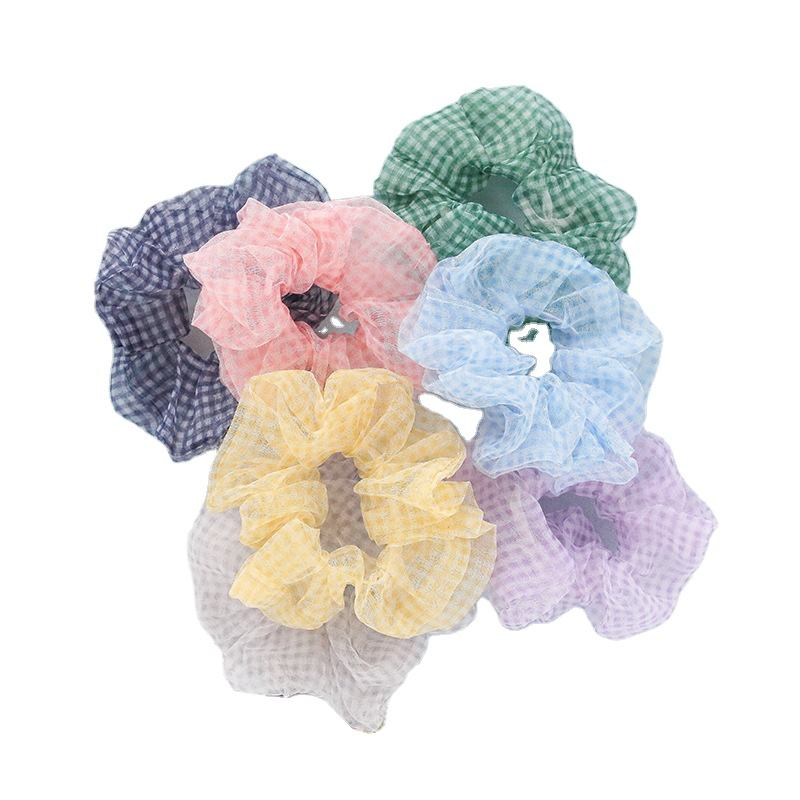 Simple design women girls daily hair decoration fine plaid fabric scrunchy hair ties for holding hair