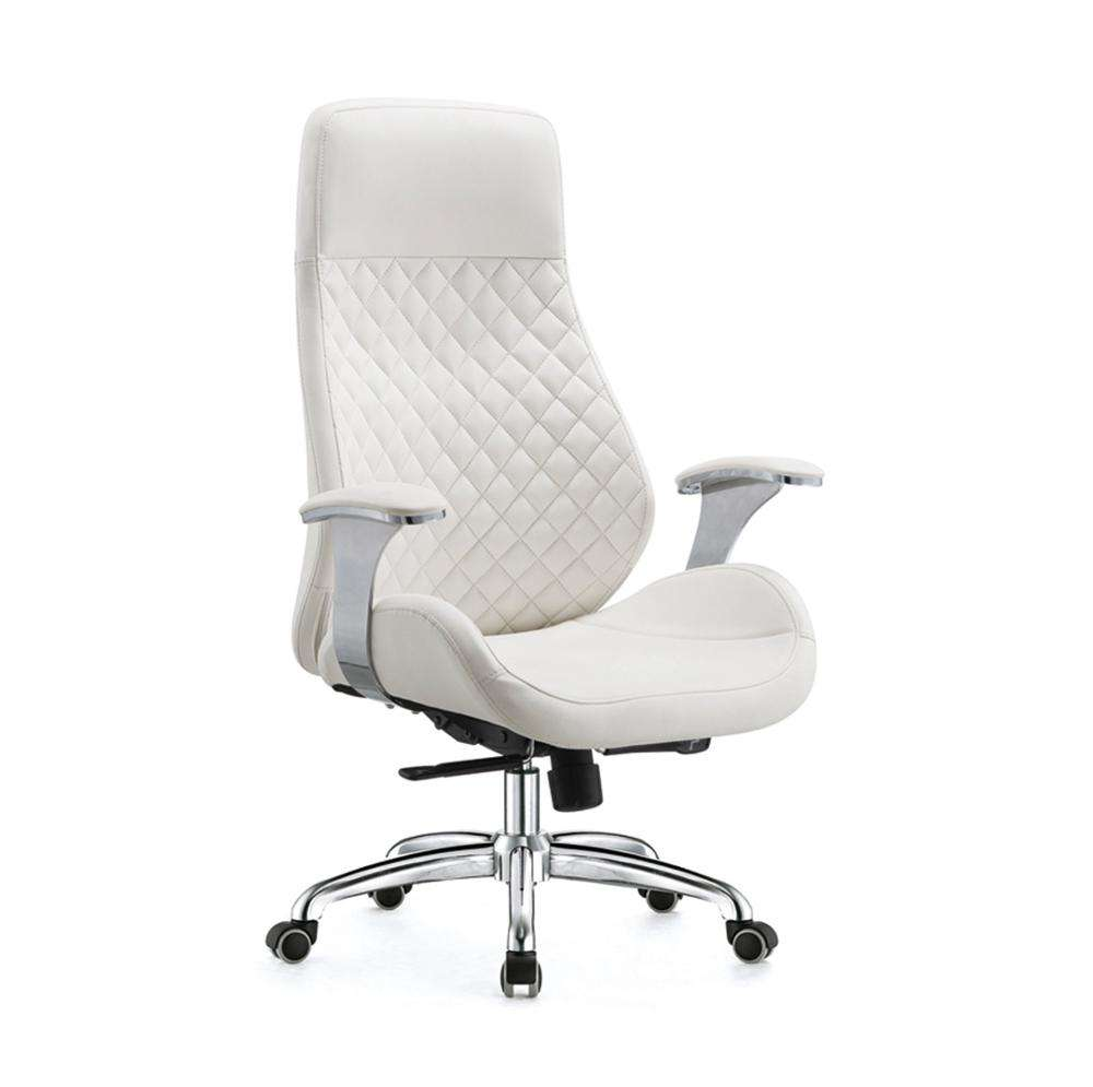 Guangdong factory modern design high end ergonomic hot sale texecutive PU genuine leather swivel lift chair metal base