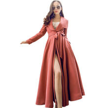 Fashion Womens Belted Coat  Red Trench Coat Long  Belted Wool Coat