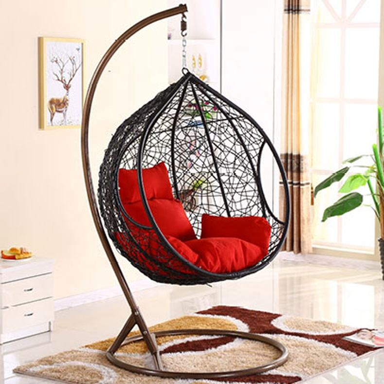 Modern Outdoor Furniture Cheap Egg Shape Garden Swing Chair With Metal Stand for Sale Waterproof Fabric Cushion