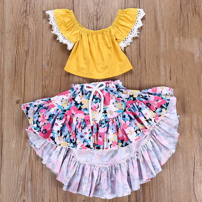 Kids summer casual wear clothes children 2pcs sets clothes little girls fashion blouse +print flower skirt