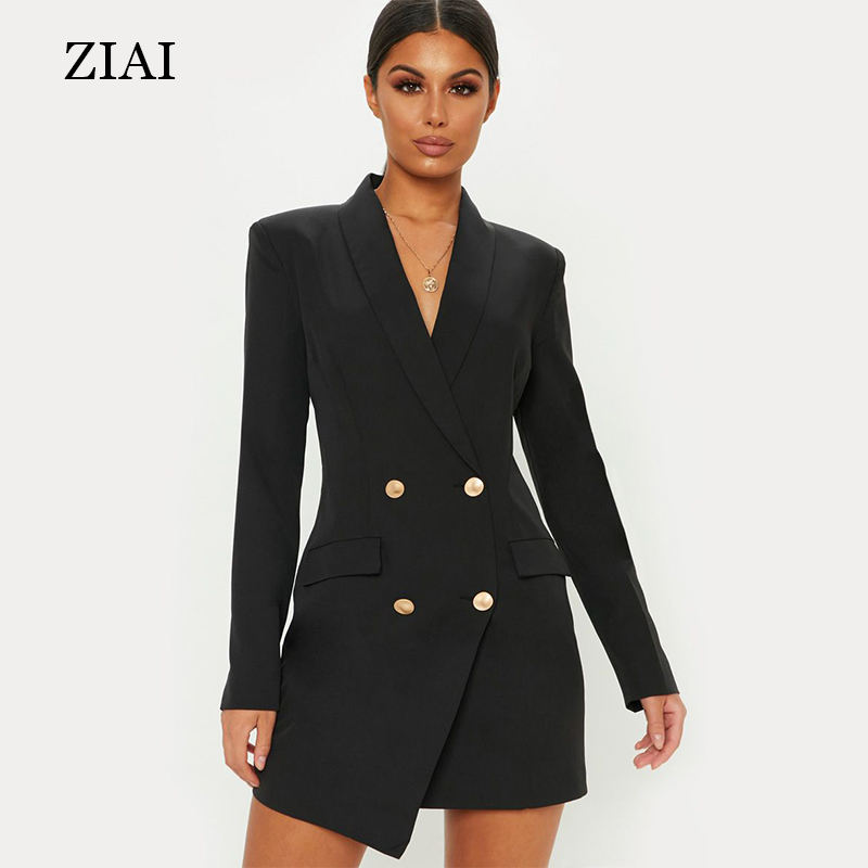 Hot selling V-neck double-breasted blazer dress ladies women sexy fashion blazer coat coffice long ladies suit