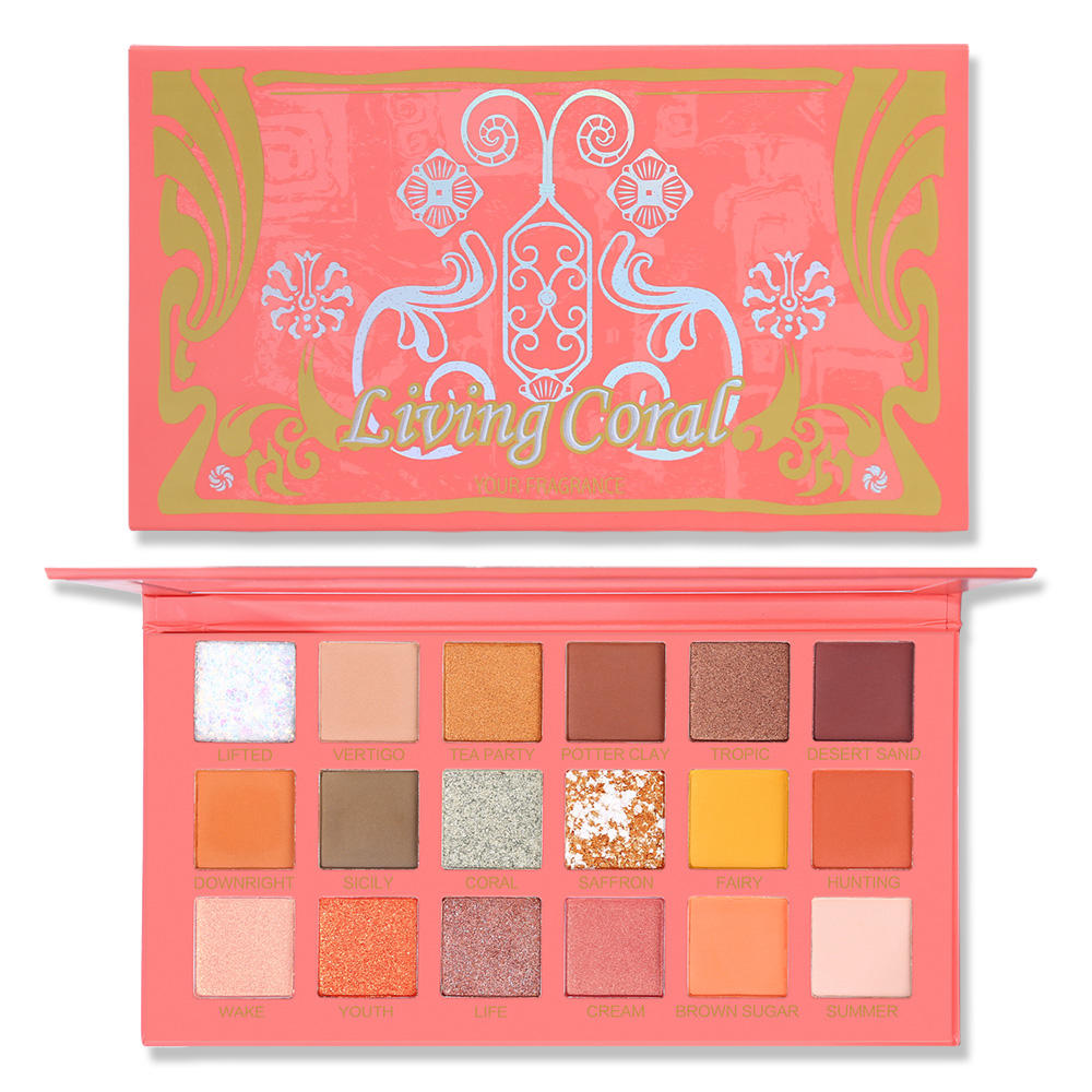 UCANBE Living Coral Eye Shadow Palette Highly Pigmented Matte Shimmer Glitter Make Up Pressed Pearl Eyeshadow Makeup Pallete