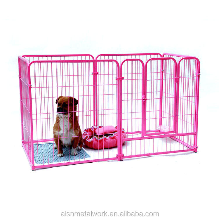 Cheap portable metal dog playpens / pink steel tube puppy fence indoors used playpen
