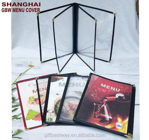 Factory price Transparent 4 page PVC restaurant menu cover with 1 pc MOQ