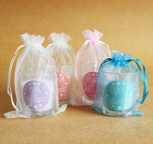 Candela colorata per vaso regalo piccola Pasqua Mini candele con etichetta privata personalizzate con sacchetto di seta