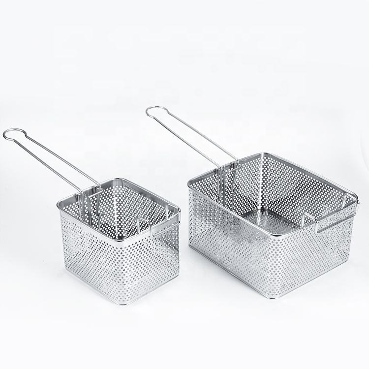 Hotel Kitchen Equipment Non-stick Rectangle Commercial Iron Fryer Basket French Fries Wire Mesh Deep Fry Basket