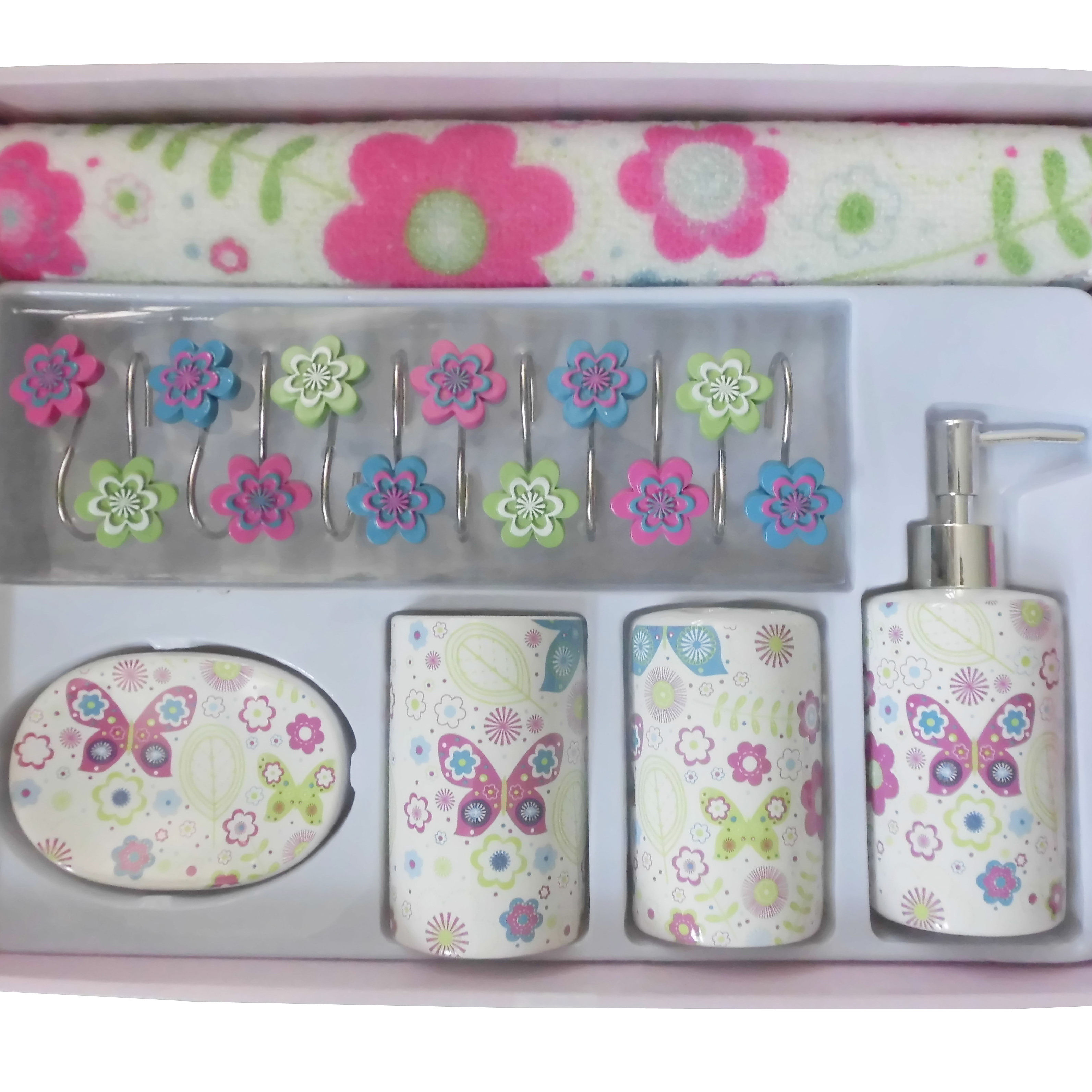 18 PCS BATHROOM SET with RESIN HOOK, CERAMIC BATHROOM TOOLS,MAT, SHOWER CURTAIN