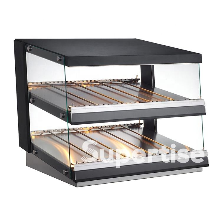 High Quality Stainless Steel Glass Cover Chicken Sausage Display Warming Showcase Electric Table Top Food Warmer