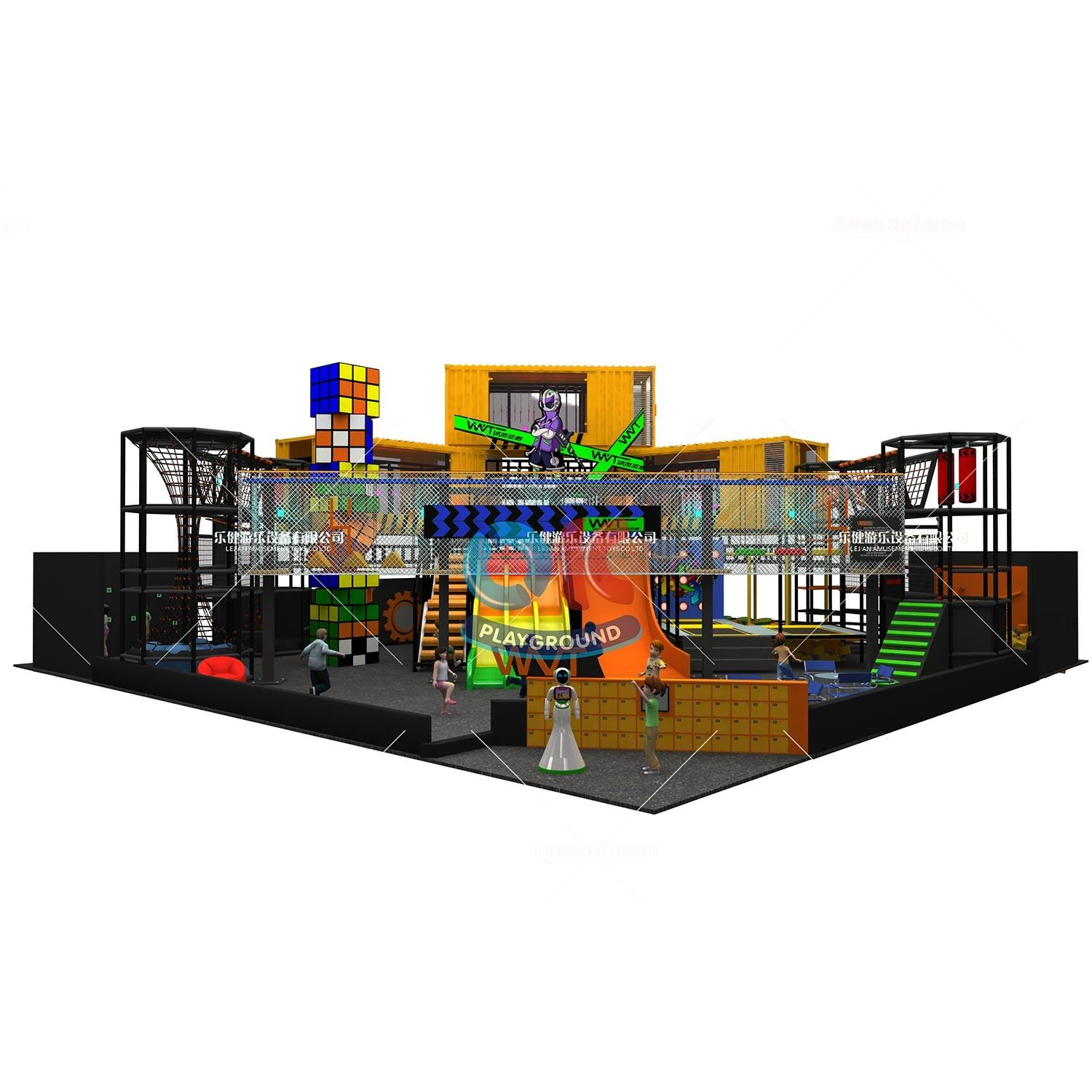 Kids Indoor Playground Equipment WVT 3-12 Years New System Fun Fitness Theme Adventure Park Children Ninja Warrior Rope Course Kids Indoor Playground Equipment