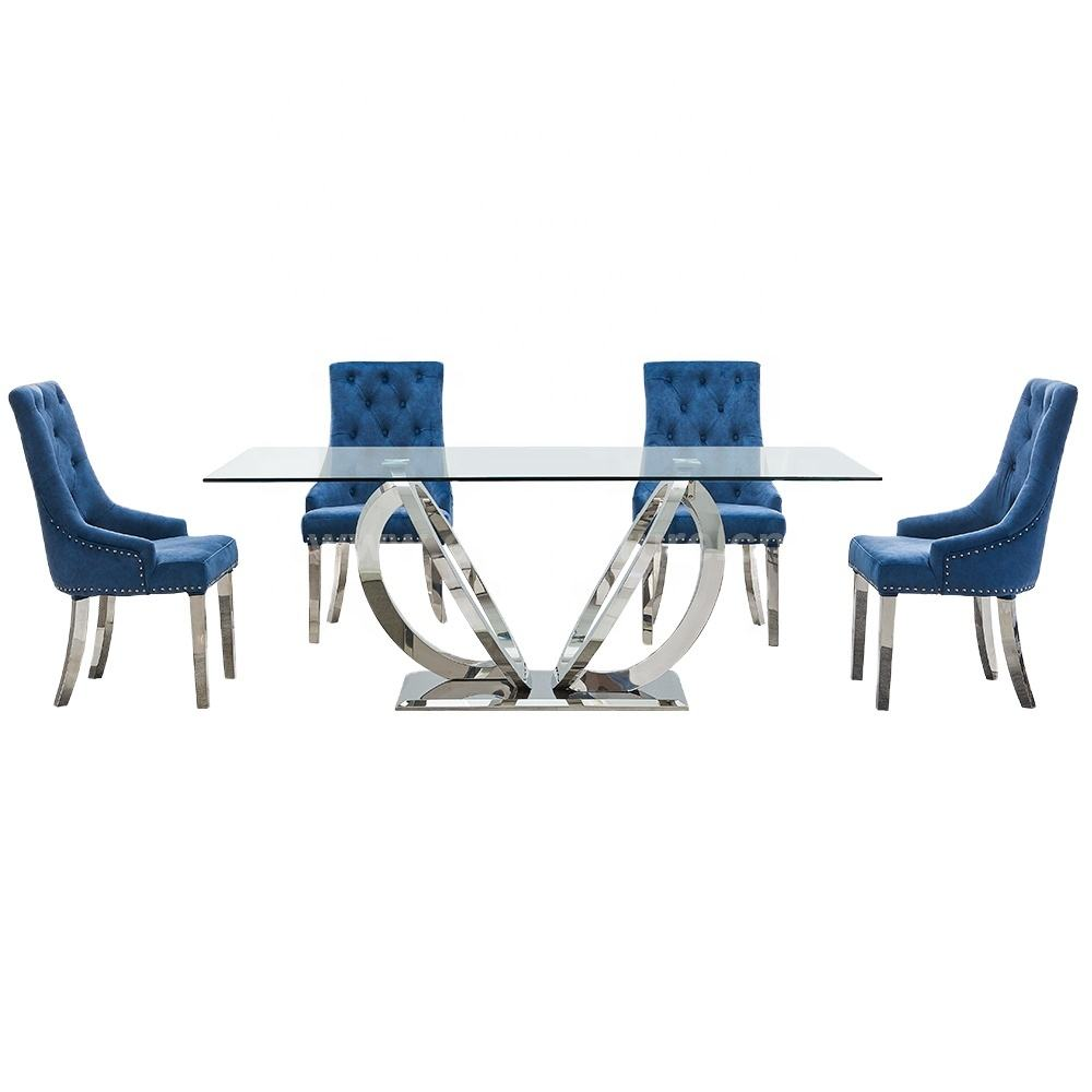 euro style new glass top stainless steel dining table for home