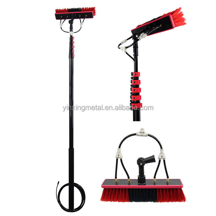 Extentool 6m Water Pipe Extension Solar Panel Wash Cleaning Brush with Water Fed Pole Clamps