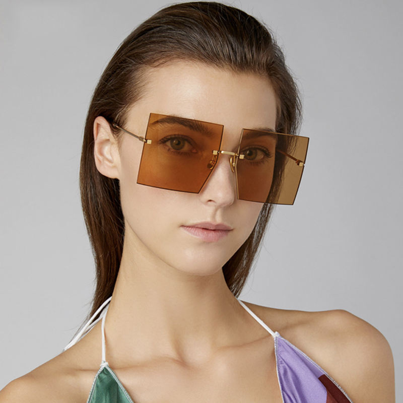 Guvivi Oversized rimless square Wholesale girls sunglasses With printed logo 2019New luxury brand Women designers sunglasses