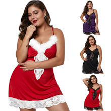 Hot sell silk Sexy pajamas plus size Women Red Christmas net Transparent sexy lingerie
