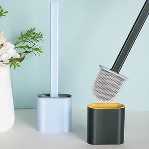 BOOMJOY Silicone Stainless Flat Flex TPR Toilet Brush With Holder