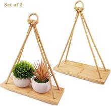 Wall Living Room Bedroom Bathroom Kitchendecorative Wall Hanging Shelf Set 2  Bamboo Floating Plant Shelves