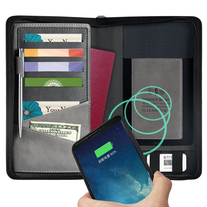 PU leather powerbank charging wallet with wireless charger power bank travel wallet rfid blocking wallet