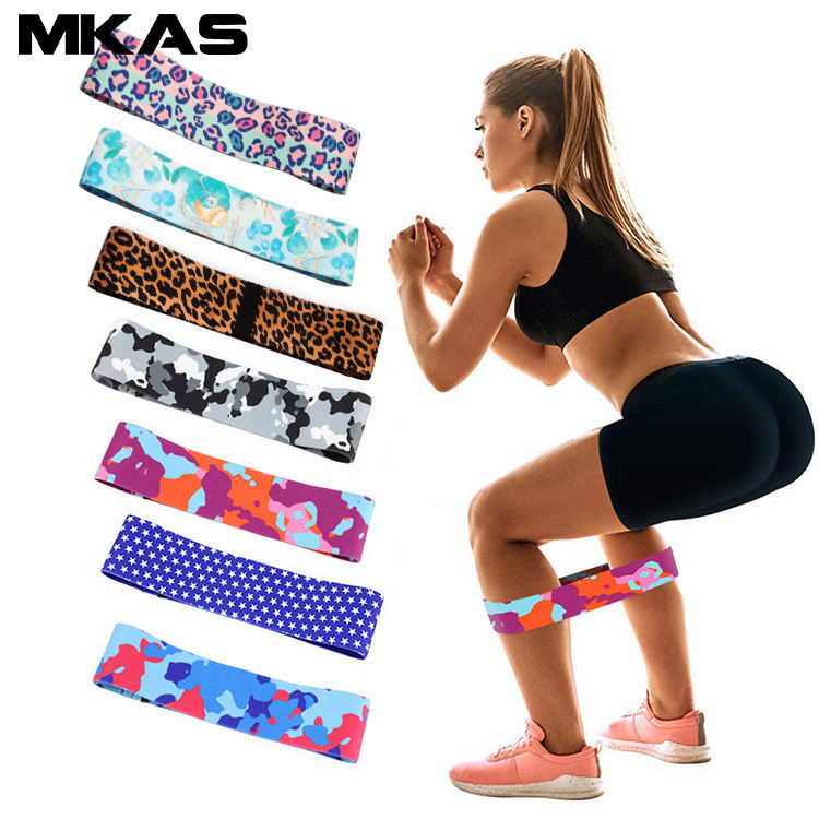 Custom printing fabric Leopard Print Fitness Hip Loop Booty Exercise Resistance Bands