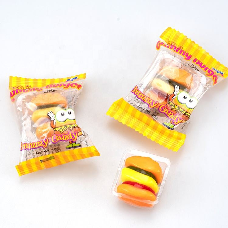 caramelos american candy Vegan Candies Vegan Sugar Free Colorful Hamburger Shape Fruit Flavor Gummy Cute Packaging Chew Jelly Candy For Kids Halal Vegan Friendly Sugar Free Sweets
