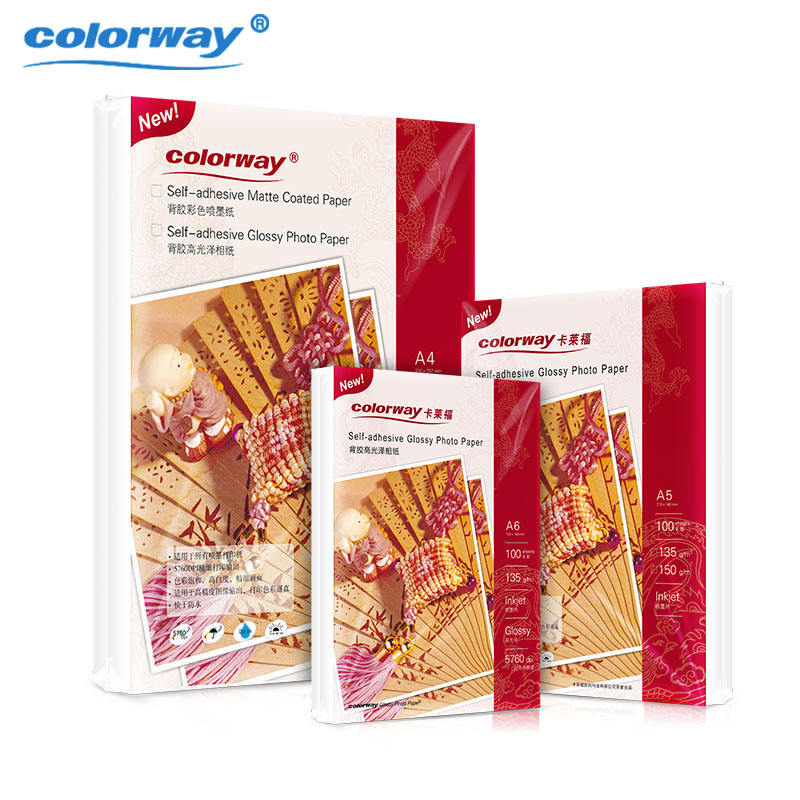 Colorway A4 135Gsm Self-adhesive High Glossy Inkjet Photo Paper