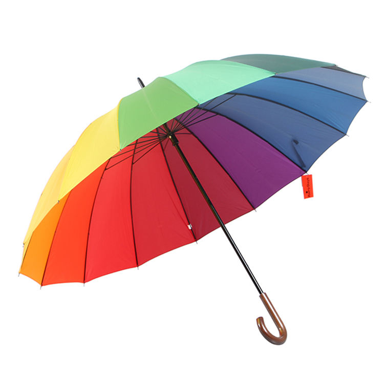 High Quality Windproof <span class=keywords><strong>16k</strong></span> Rainbow Straight <span class=keywords><strong>Golf</strong></span> Umbrella 16 Rib