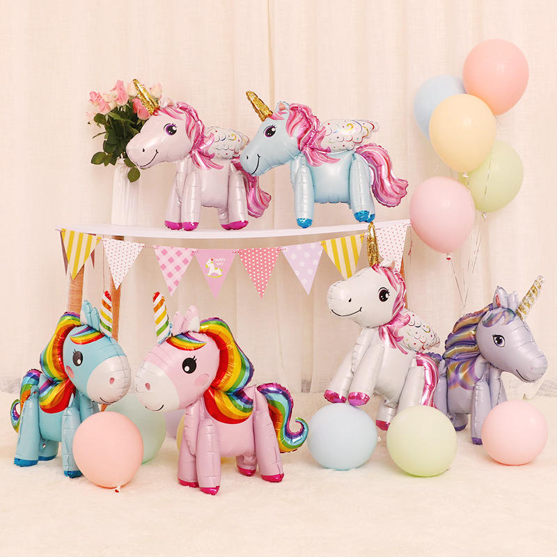 wholesale cartoon 3D unicorn shape foil helium inflatable balloon purple red for kids birthday baby shower decoration