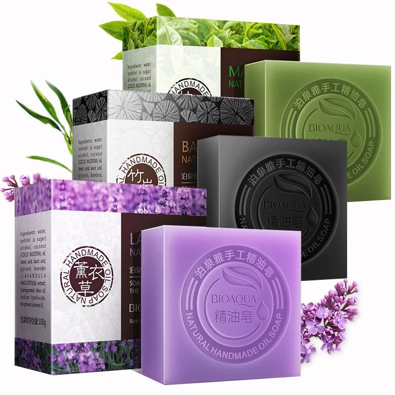 Natural Organic Herbal Essential Oil Soap Whitening Handmade Toilet Soap Skin Remove Acne Deep Cleansing Face Hair Care Bath