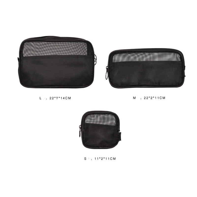 3 pcs Transparent set clear nylon makeup pouch travel waterproof cosmetic bag for women