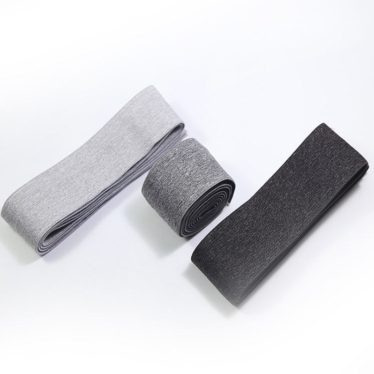Custom Size Widely Dark Grey Nylon Elastic Band,38Mm Shinny Printed Fold Over Elastic Band