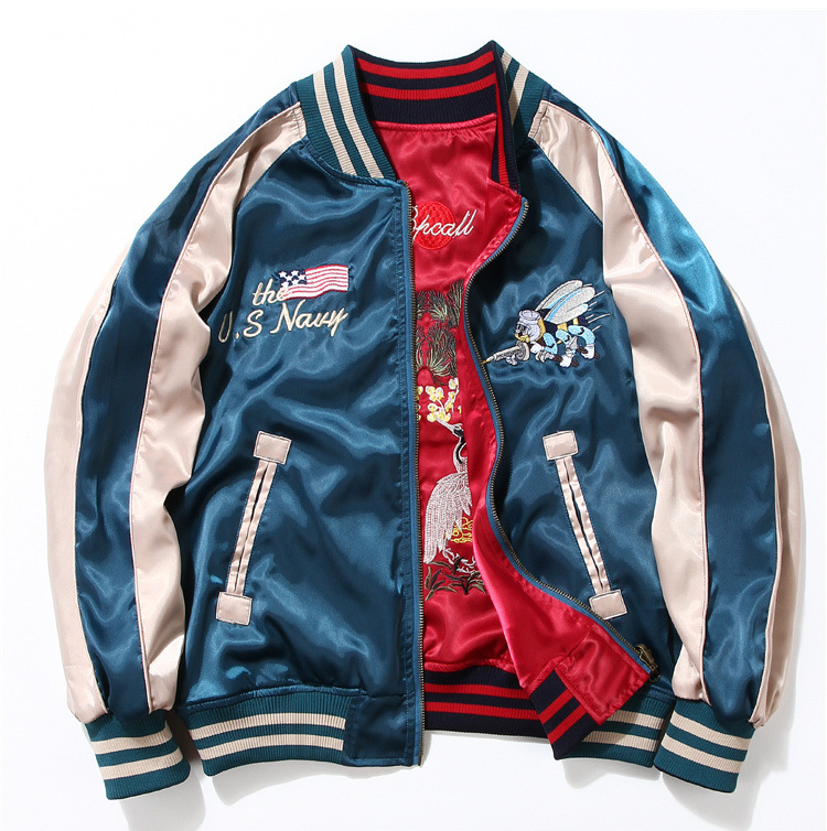 Custom College Jacket Embroidered Satin Baseball Reversible Bomber Jacket for Men