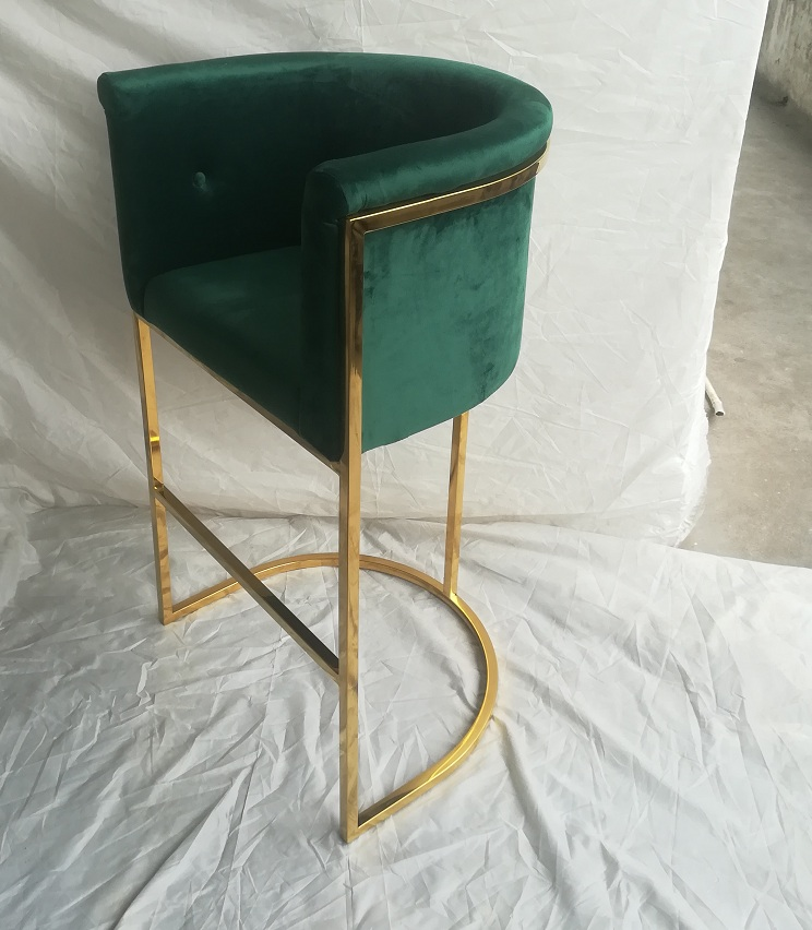 Modern Velvet Stainless Steel Frame Bar Stool High Chair With Footrest For Home Hotel Furniture