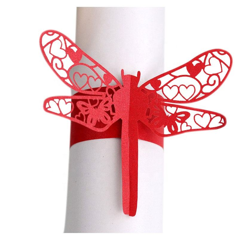 Laser Cutting Dragonfly Paper Napkin Ring Wedding Decoration Party Supplies Decoration Towel Buckle