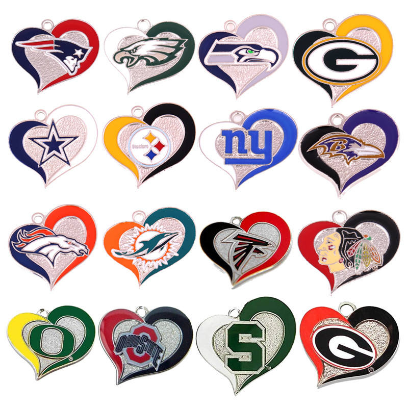 Mixed Design Sports Style American Football Jewelry Heart-shaped Super Team Earrings