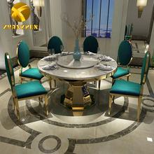 Metal furniture marble dining table set restaurant tables and chairs metal round table DT008