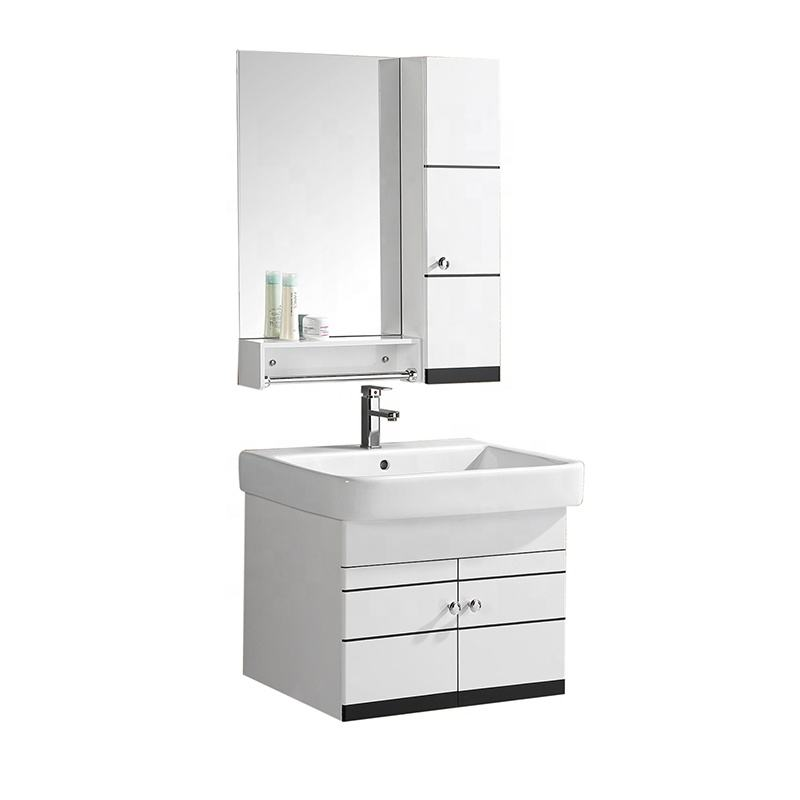 Floor Mount Bathroom Cabinet with silver Mirror and ceramic Basin