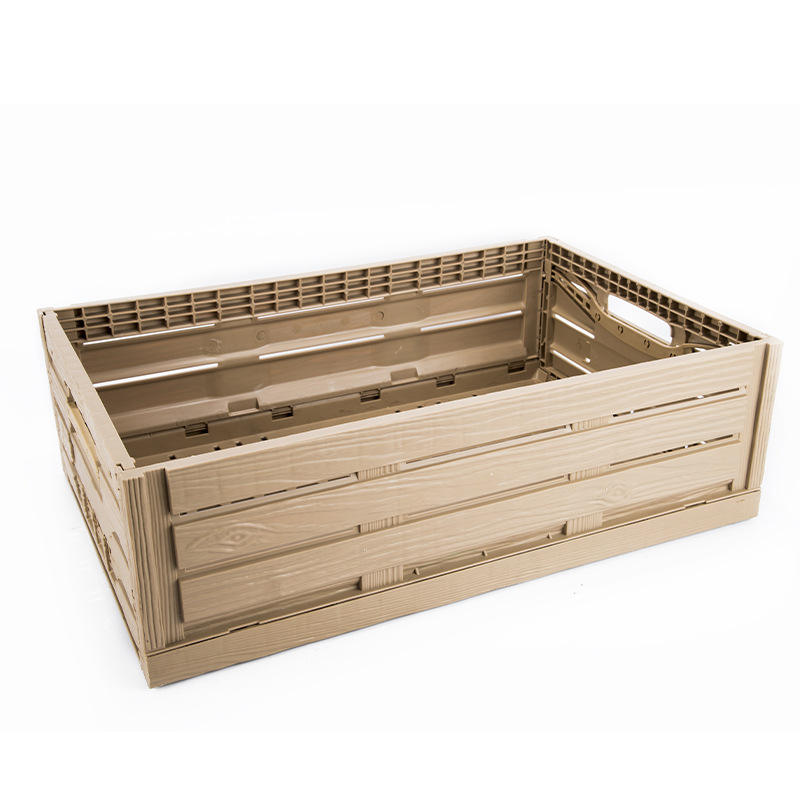 Wood look plastic pallet folding foldable wooden stackable collapsible hand fruit vegetable pp packaging storage crates