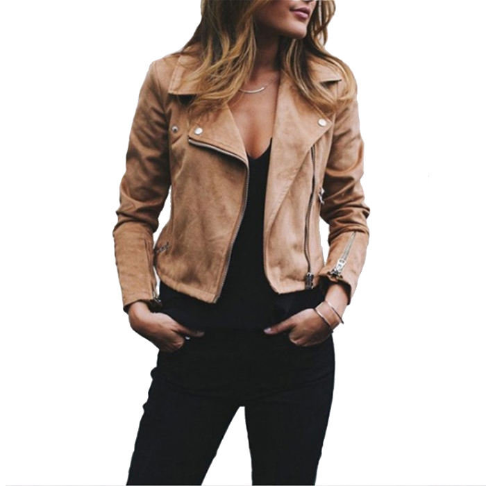 Hot Sale Autumn Ladies long sleeve Leather Jacket Women Zip Up Coats Biker Flight Casual Short Coat