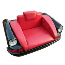 Red Retro Classic Leather Bench Sofa Industrial Vintage Car Body Sofa With Single 1 Seat For Home Restaurant Coffee Shop Bar