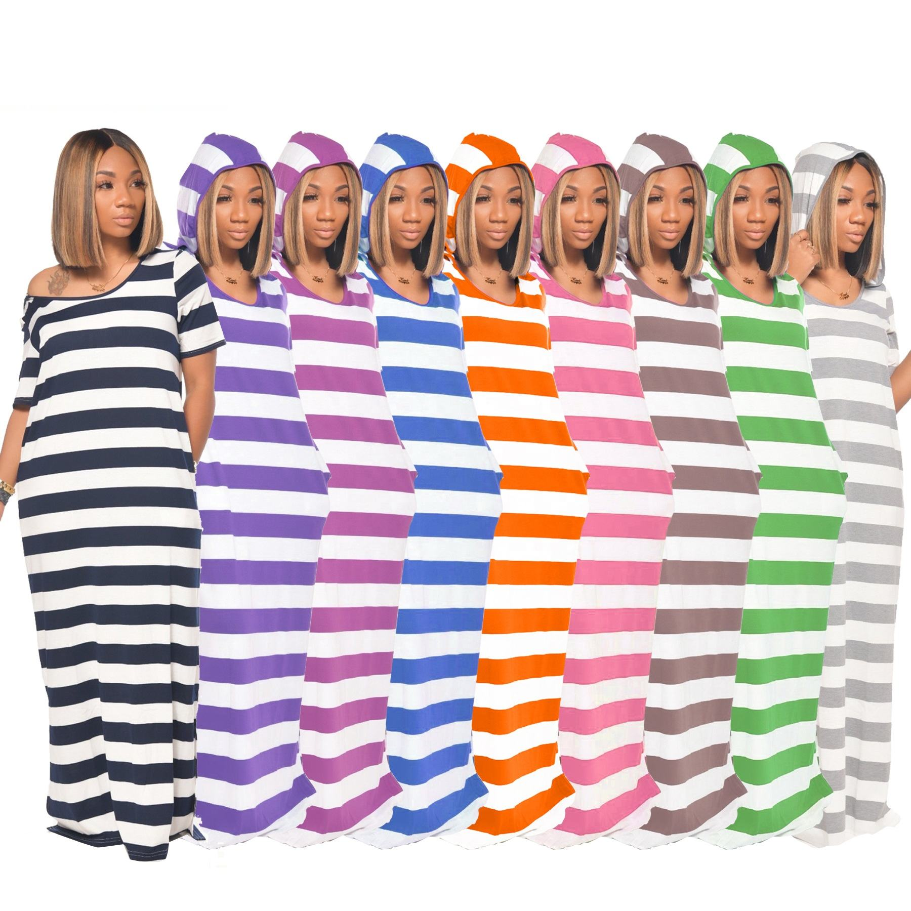 CL-BW8091 Vintage Hoodie 2021 New Arrival Loose Candy Color Striped Summer Stretchy Maxi Women's Dress Vestido