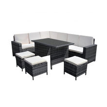 Wholesale Modern Rattan Corner Dining Set Garden Sofa/Stools/Table