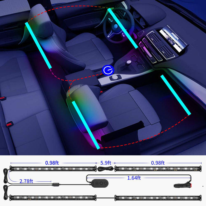 Car Flexible LED Strip Light Remote and APP Two-in-one Control Multicoloured Music Car Interior Lights Sound Active Function