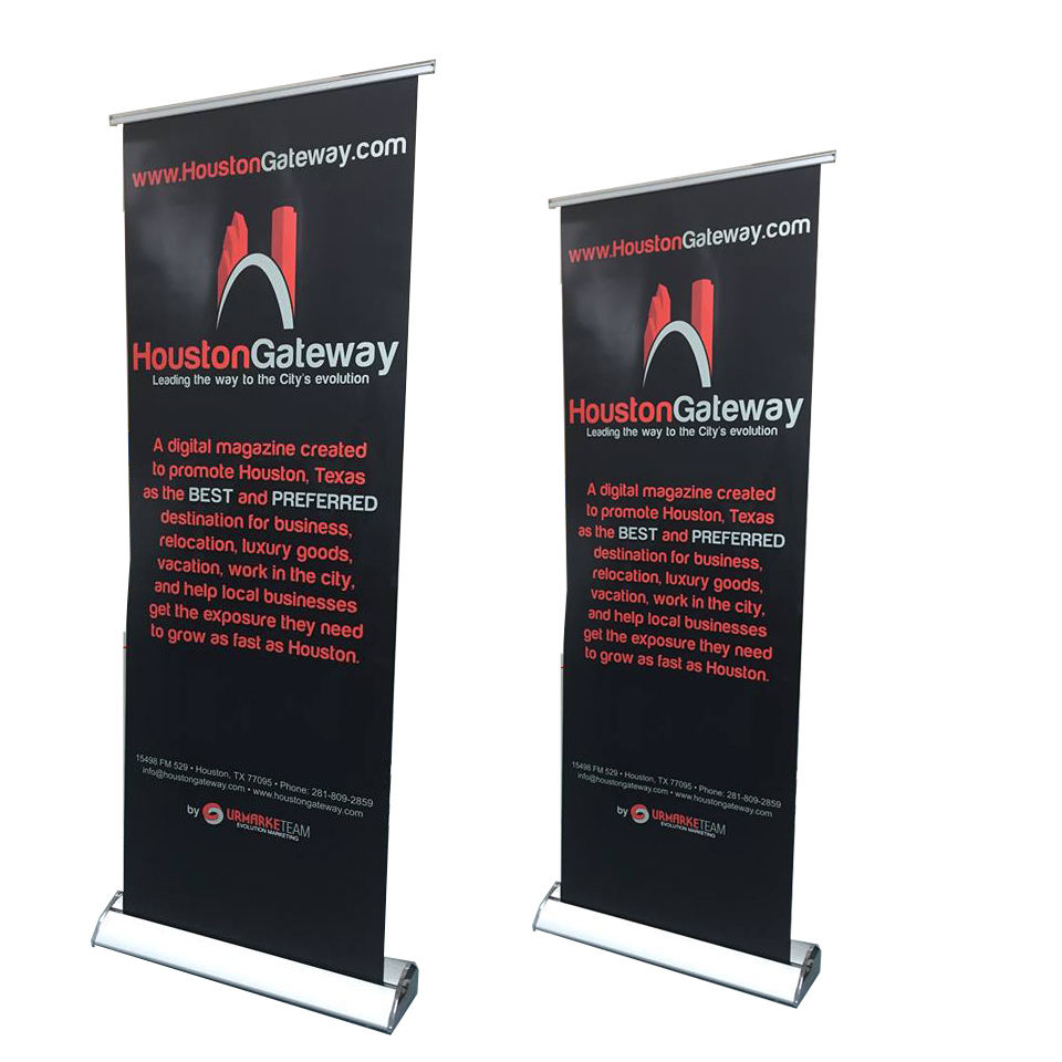 Retractable Portable [ Roll Banner ] Indoor Outdoor Aluminium Advertising Retractable Roll Up Banner Stand Display