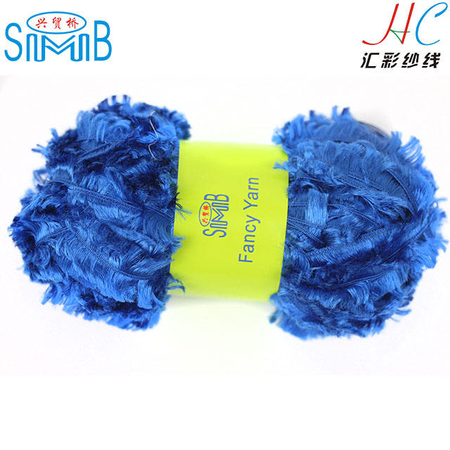 Online shopping certified knitting yarns china supplier cheapest wholesale dyed polyester bright short eye lash yarn