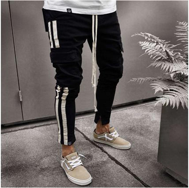 Low Price Mens Tapered Skinny Cargo Jeans With Side Stripe