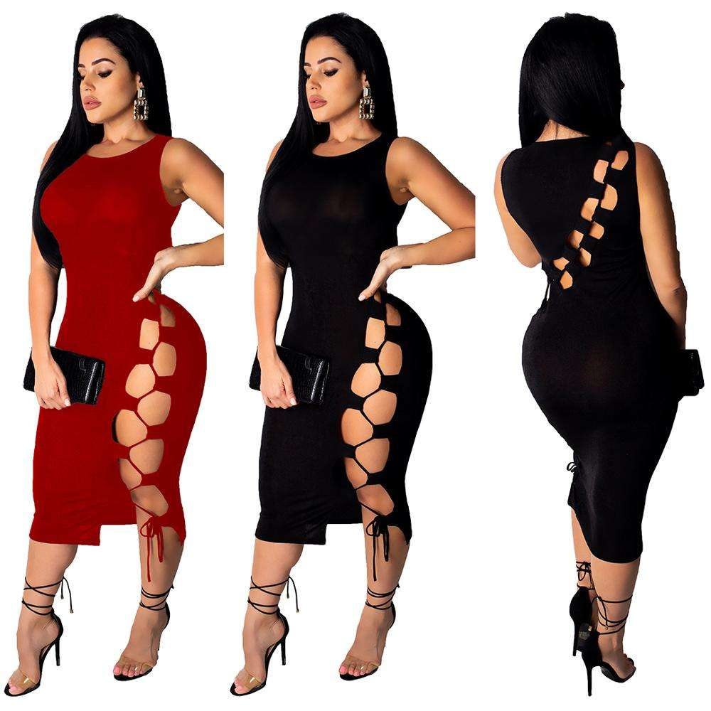 2020 Women's Clothing Sexy Bandage Midi Dress Sleeveless Wrap Dress Custom Clothes For Women Lady New Design Hot Nighty Dress