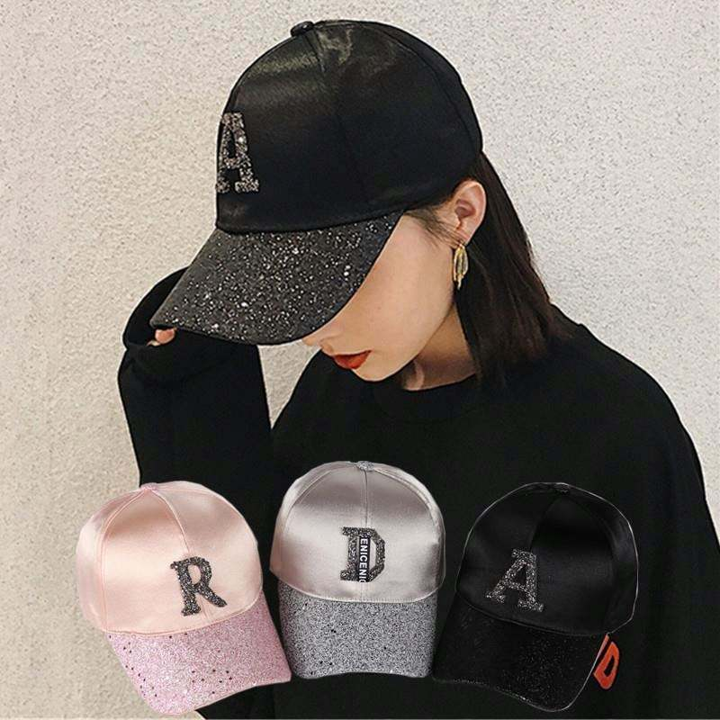 2019 Baseball cap women spring and summer Korean version of tide cap letters with drill s peaked hat sun visor hat women sun hat