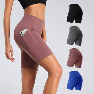 Factory Wholesale Fitness Wear Sports Shorts With Side Pocket For Women And Girls