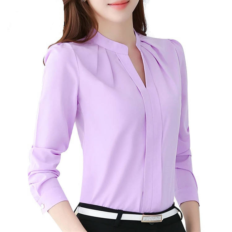 Ready to ship long sleeve office lady tops elegant chiffon blouse