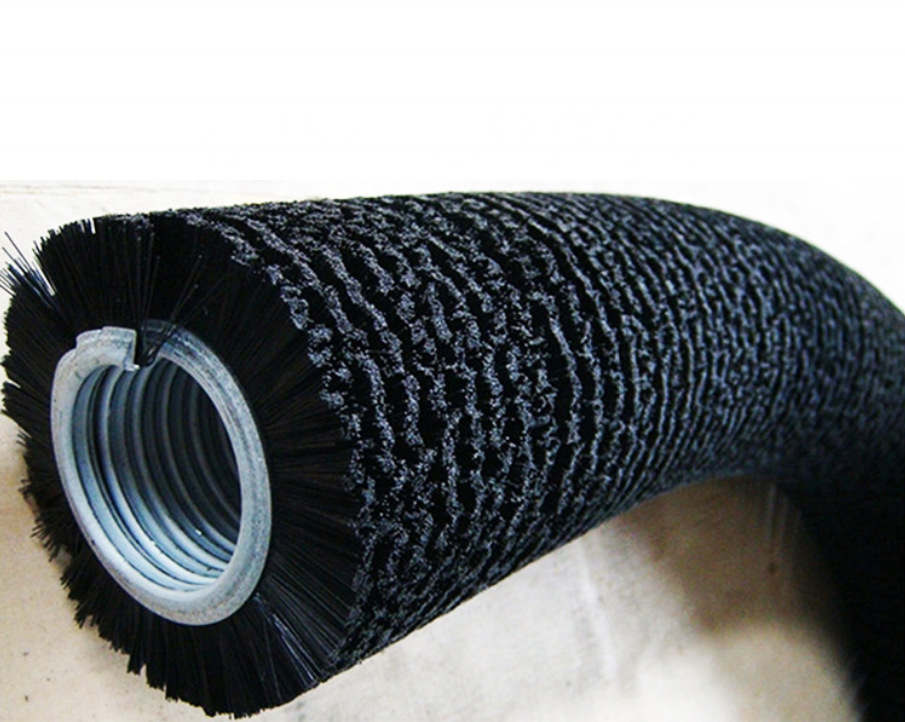 Industrial soft nylon spiral brush rotary Dross Cleaning Polishing Metal Channel Coil Brush