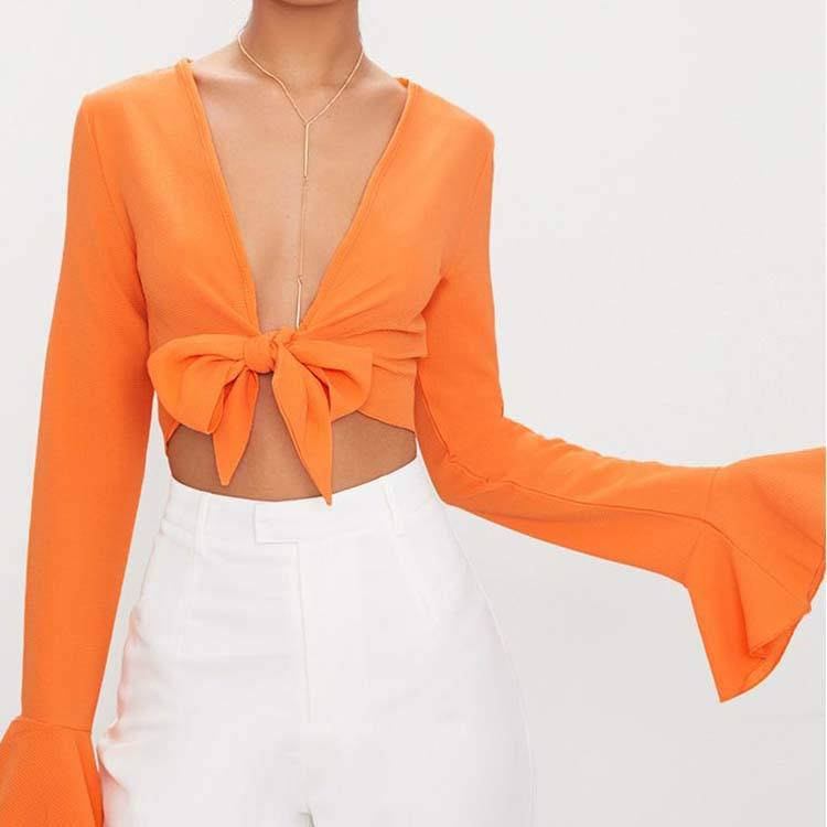 Custom Women Fashion Tangerine Front Tie Front Long Frill Sleeve Crop Tops